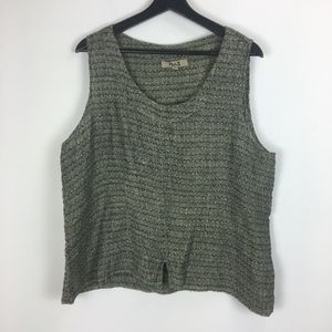 FLAX Large Blouse Linen Sleeveless Tank Black